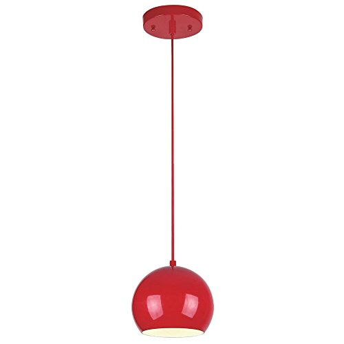 Westinghouse Lighting 6101700 Casual One-Light Adjustable Mini Pendant with Metal Shade, Red Finish