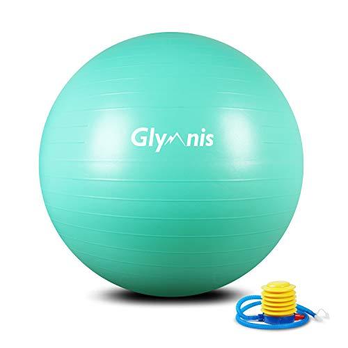 Glymnis Ballon de Fitness Ballon de Gymnastique 55cm 65cm 75cm Balle d'Exercice Antidérapant Maximale jusquà 300 kg pour Pilates Yoga Gym (Vert Menthe, 65cm)