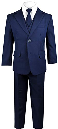 Black n Bianco Big Boys Solid Suit and Tie (7, A Navy)