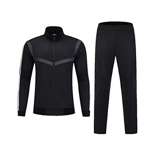 VLIG Schwarz Fußball-Trainingsanzug Mit Langen Ärmeln Für Vereinsmannschaften, Wettkampfanzug, Sportbekleidung, Jacke XL