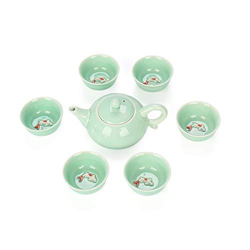 CUTEY Chinesischer Kung-Fu-Tee-Set Handgemalte Keramik (6 Tassen Mit Teekanne) Können Mit Duftendem Tee, Grünem Tee, Schwarzer Tee Usw, Grüner Teetasse KOI-Design Entworfen Werden,Grün