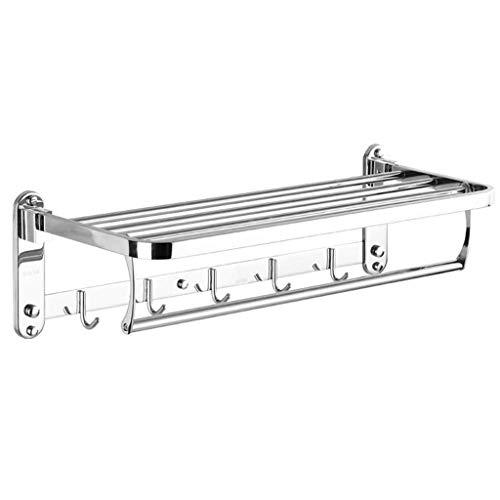 LYMJJ Rack for la Toalla de baño del Estante de Toalla del Doble Barra Porta con los Ganchos de Montaje en Pared Multifuncional Cepillado