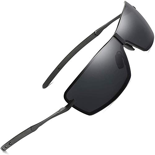 AORON Herren Polarisierte Sonnenbrille Outdoor Sportbrille UV-Schutz Fahrbrille Polarisiert Brille mit Federscharnier für A533 (Schwarz)
