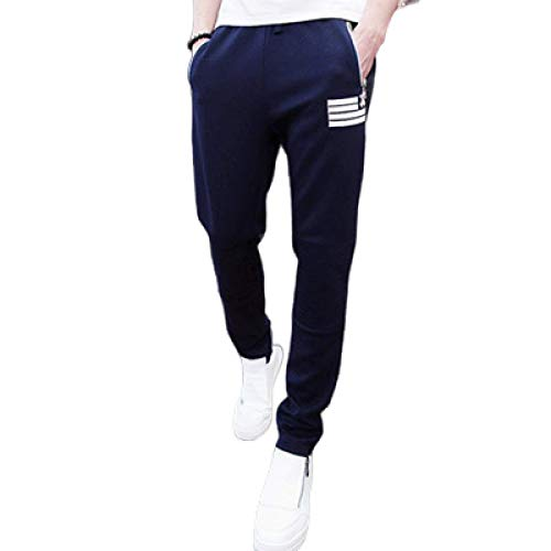 Men's Stretch Elastic-Waist Drawstring Trousers,Fashion Simple Style Gym Jogger Running Trousers, with Pocket XL Navy