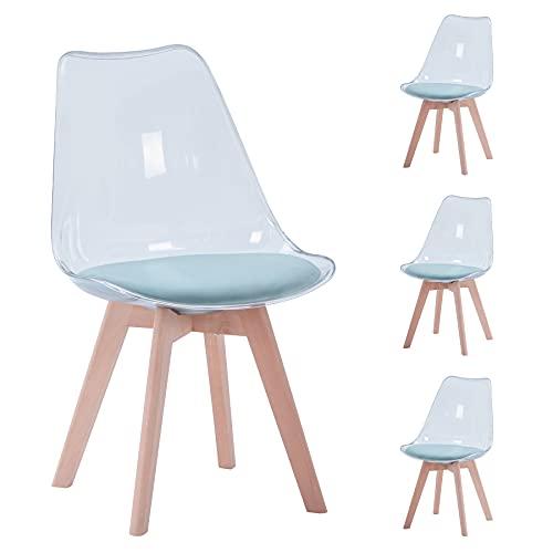 BenyLed Juego de 4 sillas de Comedor de Estilo escandinavo, sillas Laterales de acrílico Transparente de diseño Retro, Silla de Cristal con cojín de Asiento de Terciopelo (Verde)