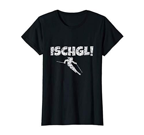 Damen Ischgl (Weiß) Apres-Ski Schnee Wintersport Skifahrerin T-Shirt