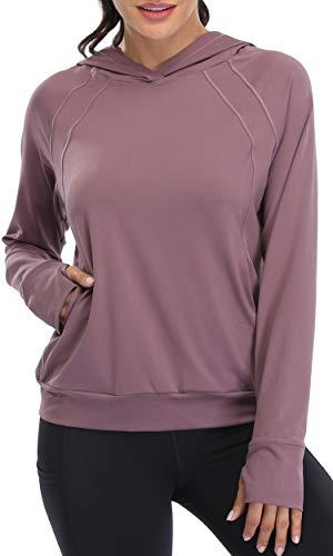 Oalka Women#039s Performance Running Hoodie Lightweight Biker Pullover Sweatshirt Vintage Currant L