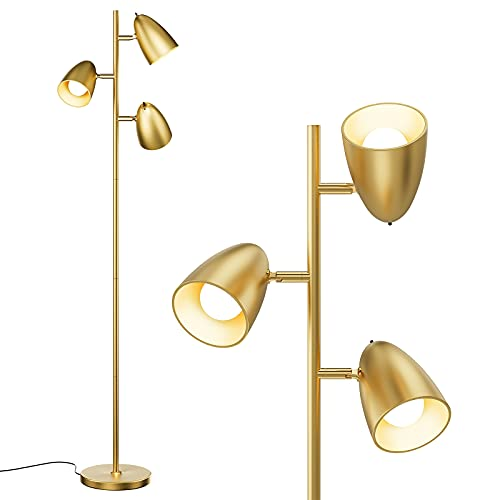 addlon Tree Floor Lamp with 3 Adjustable Rotating Lights and Matching LED Bulbs, Standing Tall Pole Lamps for Living Room, Bedroom, Home, Office - UL Listed, Antique Brass / Gold