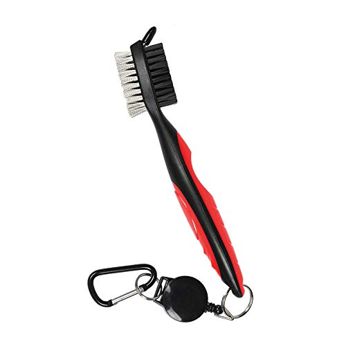 Golf Club Brush and Club Groove Cleaner Nylon Steel Brush Golf Clean tool with Retractable Zip line Aluminum Carabiner LightweightErgonomic DesignEasily Attaches to Golf Club Bag