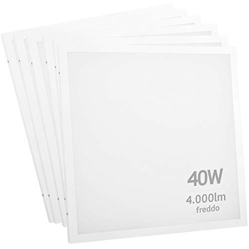 6x Pannelli LED 40W 60x60cm 4000 lumen - Luce Bianco Freddo 6500K - Fascio Luminoso 120° - Eurocali - 2 in 1 incasso o superficie