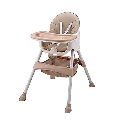 Seggiolone per Neonati e bambini piccoli - con vassoio rimovibile, imbracatura a 5 punti e gambe regolabili in altezza, Sedia da pranzo portatile per ragazzi e ragazze, Cachi