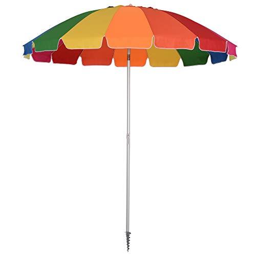 Outsunny Sombrilla de Aluminio Reforzado Ø220 cm con Espiral Poste Desmontable y Bolsa de Tranporte Diseño Arcoíris Fácil Anclaje para Playa Jardín Multicolor