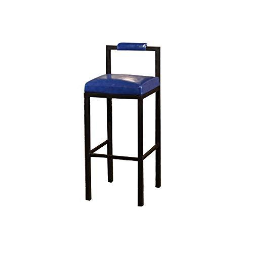 Banqueta de Bar, Asientos de Piel Artificial, ergonómico Simple y Creativo Vaciar Respaldo, Hogar y Barra de Inicio (Color : Dark Blue, Size : 65cm)