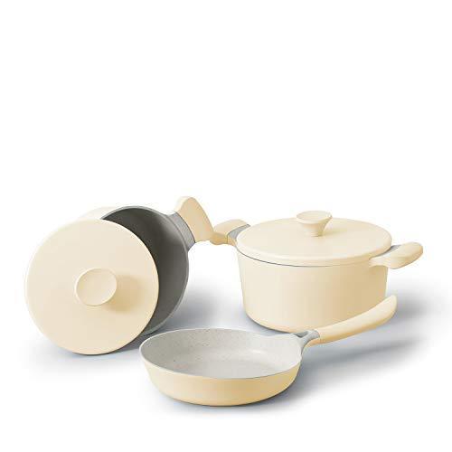 IKOHS UMA&Noa - Batería 3 Piezas, de Aluminio Fundido, con Revestimiento Antiadherente, Asas de Baquelita, Sin PDFE y PFOA, para Todo Tipos de Cocinas, Estilo Cocotte, Apta para Inducción (Amarillo)