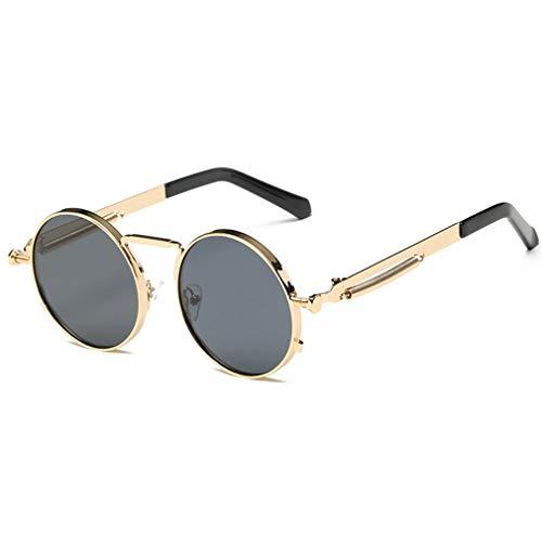 WEIMEITE Gothic Steampunk Sonnenbrille Männer Frauen Metall Brillen Runde Shades Retro Punk Sonnenbrille UV400
