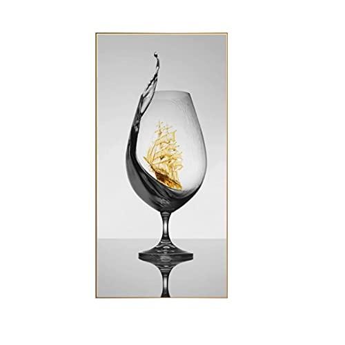 MENGX Impresión de Lienzo de Creatividad, Copa de Vino romántica Moderna con velero imágenes artísticas de Pared abstractas Bar Sala de Estar decoración del hogar sin Marco