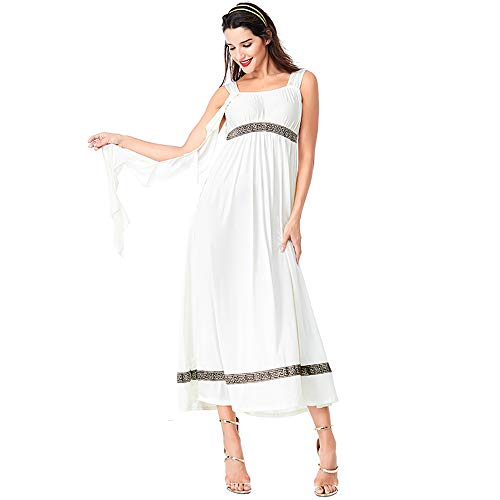 fagginakss Damen Sexy Griechische Göttin Kostüm Retro Kleid Herren Griechischer Gott Karneval Kostüm Erwachsener Cosplay Halloween Kostüm,Weiß