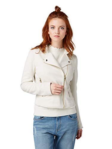TOM TAILOR Damen Kunstlederjacke im Wildlederlook Jacke, Beige (Soft Beige Solid 10354), Large
