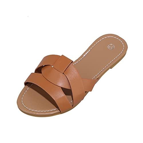 Sandalias de Verano Mujer Chanclas Punta Descubierta Planas para Playa Casual Sandalias Zuecos Zapatos Zapatillas de Cuero para Mujer