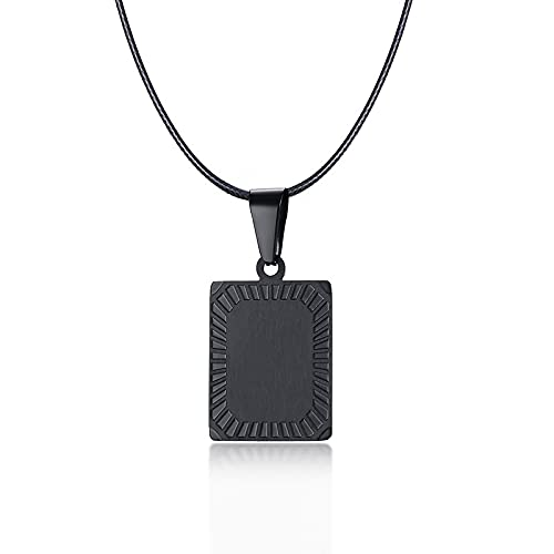 Necklace men Pendant Customized Necklaces For Women Men Initial Letter Pendant Stainless Steel Metal Unisex Personalized Icon Logo Gift Ropechainblack