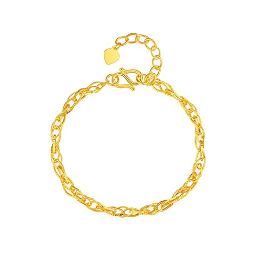 Adecuado para Oro Amarillo De 24k Pulseras para Mujeres con Abalorios Decorativos Cadenas Delgadas Joyas