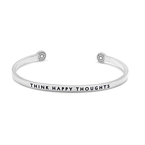 Simple Pledge - Think Happy Thoughts - Armreif in Silber mit Gravur für Damen
