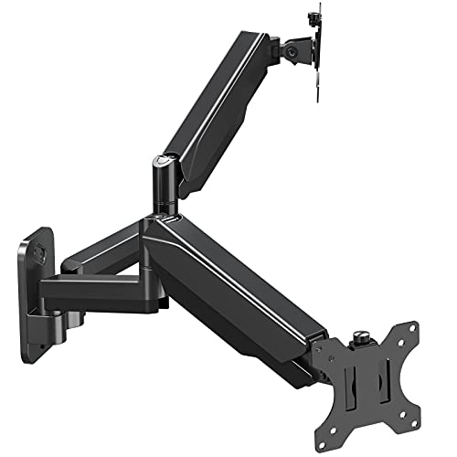 MOUNT PRO Dual Monitor Wall Mount Bracket - Height Adjustable Full Motion Articulating Gas Spring Monitor Arm Stand- Fits 13 to 32 Inch LCD Computer Screens, Holds up to 17.6lbs, VESA 75x75, 100x100