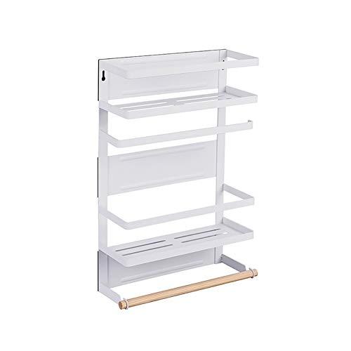 GLFZWJ Mur Porte-Bagages, Pas Besoin de Perforate Cuisine Porte-Bagages, Blanc/Noir Accueil magnétiques étagères métalliques, Installation Facile (Color : White, Size : L)
