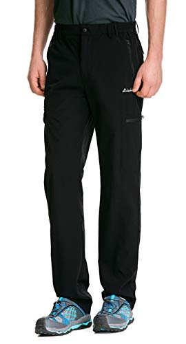 clothin Men's Elastic-Waist Travel Pant Stretchy Lightweight Cargo Pant Quick Dry Breathable (Black L-32)