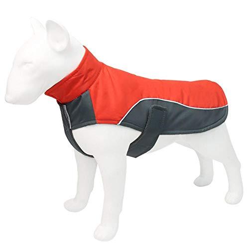 QKEMM Mascota Perro Escudo de Chaqueta Reflectante Impermeable con Velcro para Clima Frío Resistente Al Viento Rojo 2XL