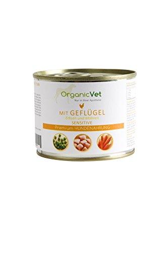 OrganicVet hond natte voeding Sensitive gevogelte met erwten en wortels, 6-pack (6 x 200 g)