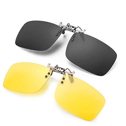 CoWalkers Gafas de Sol con Clip para anteojos graduados,Gafas de Sol antideslumbrantes de Gafas de Sol con Clip polarizadas para anteojos recetados,2 Pcs (Negro + Amarillo)