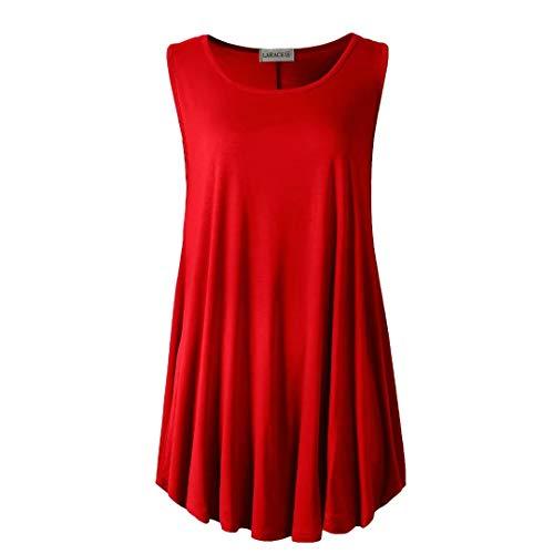 LARACE Women Solid Sleeveless Tunic for Leggings Swing Flare Tank Tops (2X, Red)