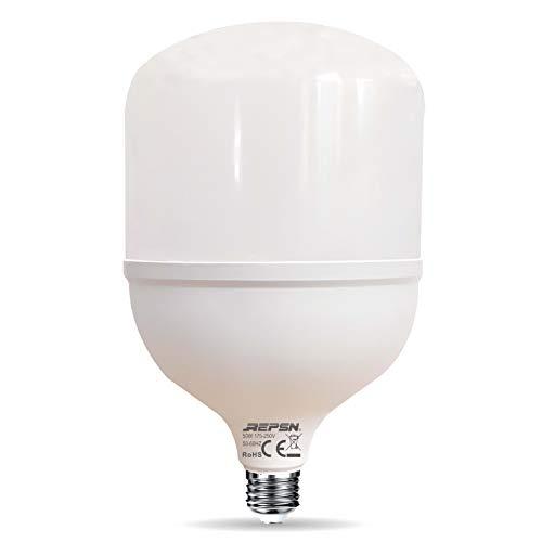 REPSN® Lampadina a LED E27,50W,luce bianca fredda,6500K,sostituisce lampadina alogena da 400 W, 5000 lm, angolo di illuminazione 360°,per magazzini di fabbrica,garage,cortile,non dimmerabile