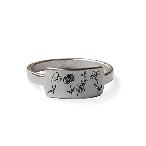 925 Sterling Silver Birth Month Flower Ring Custom Personalized Nature Ring Birth Month Flower Gift For Her