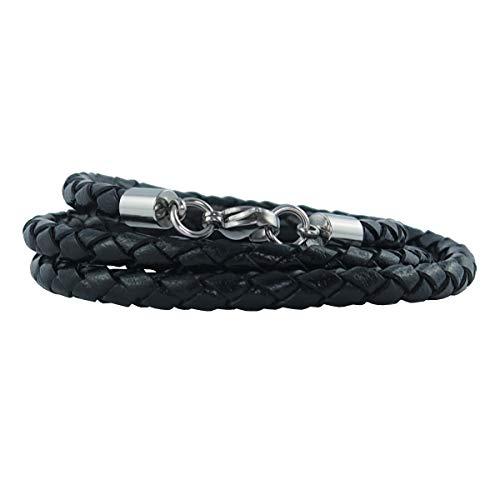 König Design Lederkette Lederhalsband Lederarmband 4 mm Herren Halskette schwarz 50 cm lang mit Karabiner Verschluss Silber geflochten