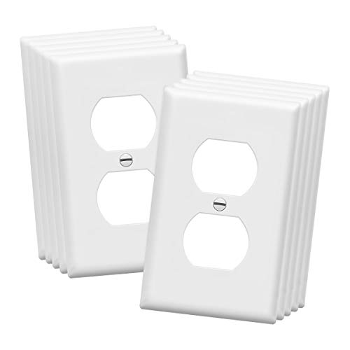 """ENERLITES DuplexWall Plates Kit, Electrical Outlet Covers, Standard Size 1-Gang 4.50"""" x 2.76"""", Unbreakable PolycarbonateThermoplastic, ElectricReceptaclePlug Covers, 8821-W-10PCS, White, 10 Pack"""