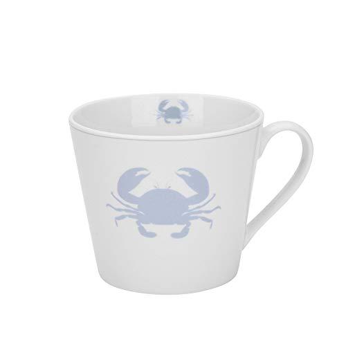 Krasilnikoff - Becher, Tasse mit Henkel - Happy Cup - Krabbe, Krebs - weiß, grau - ca. 400 ml - Höhe: 9 cm