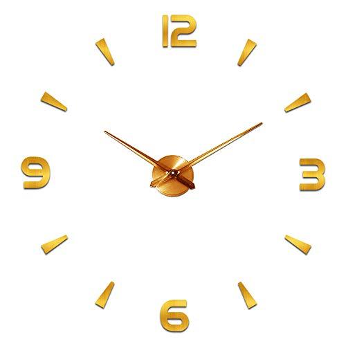 Moderno reloj de pared silencioso DIY reloj de pared adhesivo 3D reloj de pared para decoración regalo para casa, restaurante, oficina y hotel (dorado)