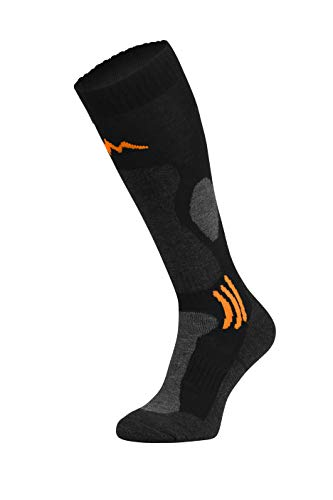 Freenord Merinotech SKI Funktionssocken Skisocken Skistrümpfe 1 PAK oder 2 PAK (1 Pack schwarz/orange, 35-38)