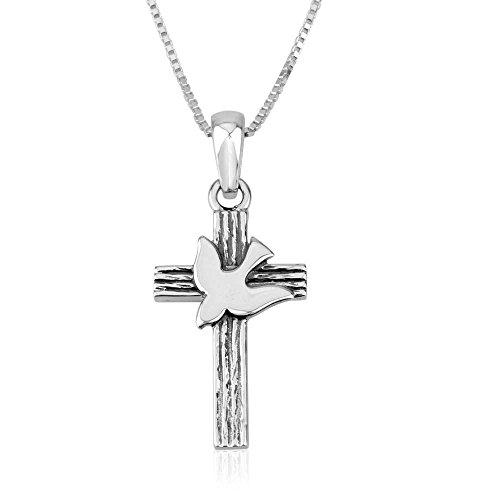 Marina Jewelry Genuine 925 Sterling Silber Kette und Kreuz mit Taube Anhänger 18 Zoll Box Kette für Männer Oder Frauen