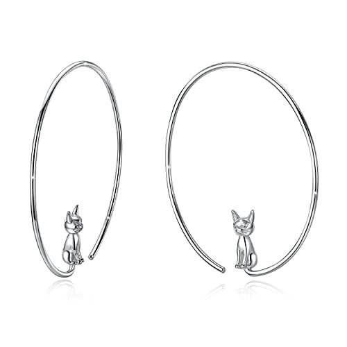 GOXO Pendientes de Aro de plata de ley 925 Pendientes de Gatos lindos joyería para mujeres niñas