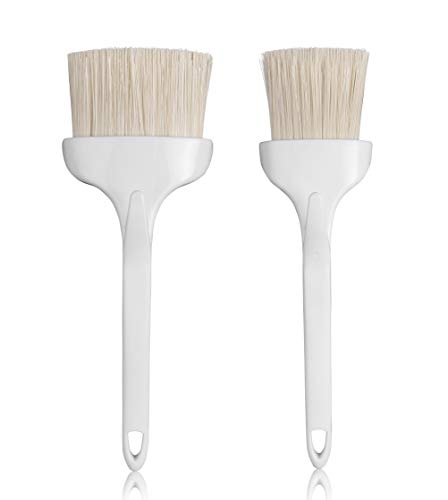 Set Of 2 - Pastry Brushes Basting Brush, Natural Boar Bristles, Plastic Hook Handle, Heat Resistant Bristles Up To 500°F (260°C) for Grill BBQ Cooking Baking Baster (3-Inch, and 2 -Inch)