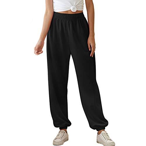 Pantalon Femme Sports Yoga Pants Jambes Large Elastiqué Jogging Détente Pilates Casual Travail (Noir, S)