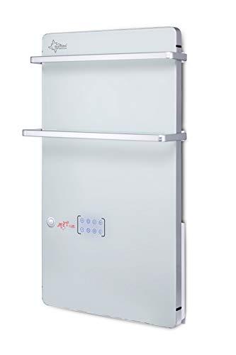 SUNTEC Glas Panel Heizung | Elektrische Badheizung für Räume bis 25 m2 | 2 Handtuchhalter | Wandmontage | LCD-Display | 2 Heizstufen (900/1800 Watt) | Heat Supreme 2000 Glass
