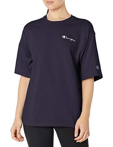 Champion Damen The Boyfriend Tee - Left Chest Script T-Shirt, Navy, Mittel