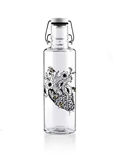 soulbottles 0,6l • Trinkflasche aus Glas • No Bees, no Future • nachhaltig, plastikfrei, vegan
