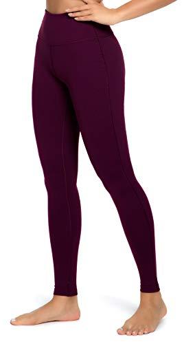QUEENIEKE Yoga Leggings mit Tasche Klassische Bauchkontrolle Mittlere Taille Laufhose Workout Sporthose für Damen Farbe Rose Rot Größe S(4/6)