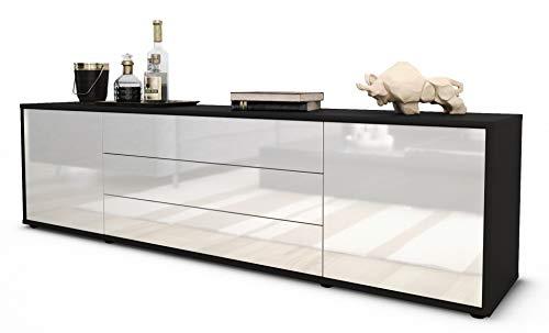 Stil.Zeit TV Schrank Lowboard Ariella, Korpus in anthrazit matt/Front im Hochglanz-Design Weiß (180x49x35cm), mit Push-to-Open Technik und hochwertigen Leichtlaufschienen, Made in Germany