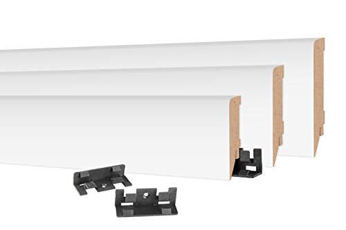 HEXIM Zócalo moderno 16 x 100 mm – Rodapié MDF para baldosas, laminado, vinilo y alfombra – 2 metros MS10016 – Rodapié para suelo